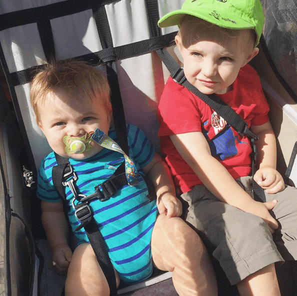 The boys were in a trailer on the bike ride and it was so cute!