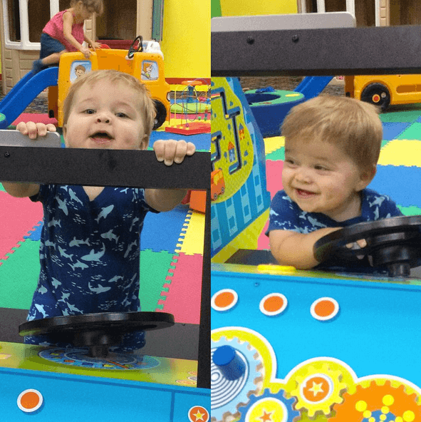 We took the kids to a play place/bounce house area and Finn was in Heaven playing on the toys.