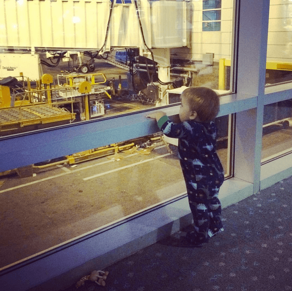 More airport fun… this kid gave me a run for my money on our way home!